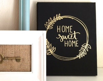 Home sweet home- 8x10 canvas, home sweet home sign, home sign, home canvas, home sweet home canvas, floral wreath sign, housewarming gift