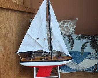 "Floating Wooden 21"" Model Sailboat - model ship - model boat, USA Pacific Sailer, sailboat decor, boat decor, functioning and working - 056"