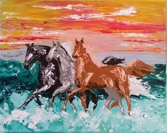 Sea Horses Acrylic Painting 8 x 10 Ready for your frame