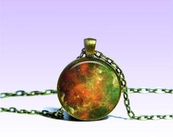 North America Nebula Pendant Nebula NECKLACE Black Red Jewelery Charm Pendant for Him or Her