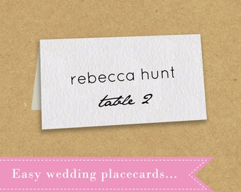 Placecard Template - printable - tent style - editable Word file - instant download