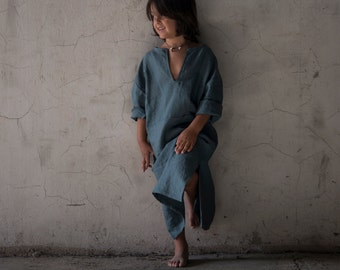 Kids pure linen kaftan. Fine Design. French Blue color.