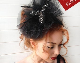 Black Fascinator - Black Wedding Fascinator Hat, Tea Party Hat - Kentucky Derby Hat - British Hat Fascinator Headband - Costume Hat