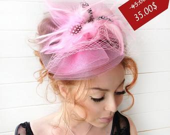 Pink Fascinator - Pink Wedding Fascinator Hat, Tea Party Hat - Kentucky Derby Hat - British Hat Fascinator Headband - Costume Hat