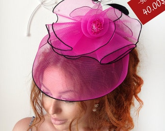 "Fuchsia Fascinator - ""Summer"" Fuchsia Wedding Fascinator Hat, Tea Party Hat - Kentucky Derby Hat - British Hat Fascinator Headband"