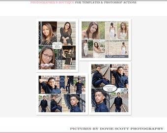 8x10 Senior Storyboard, Collage Template Collection- Set of 4 8x10 .psd templates