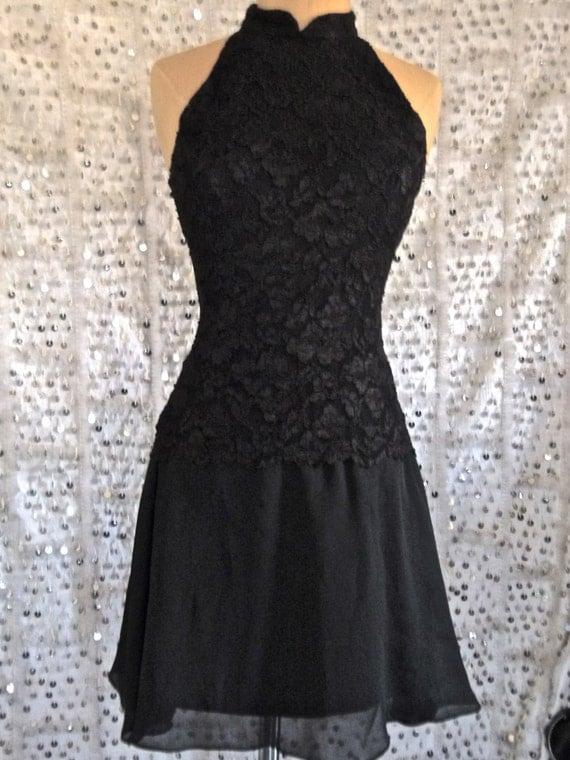 90s La Petite Robe Noir- Lace Little Black Dress; Grunge Dress; Small; mock neck; sleeveless