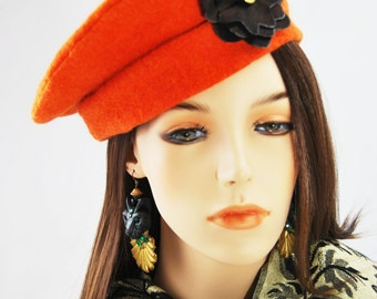 Orange Beret with Brown Flower
