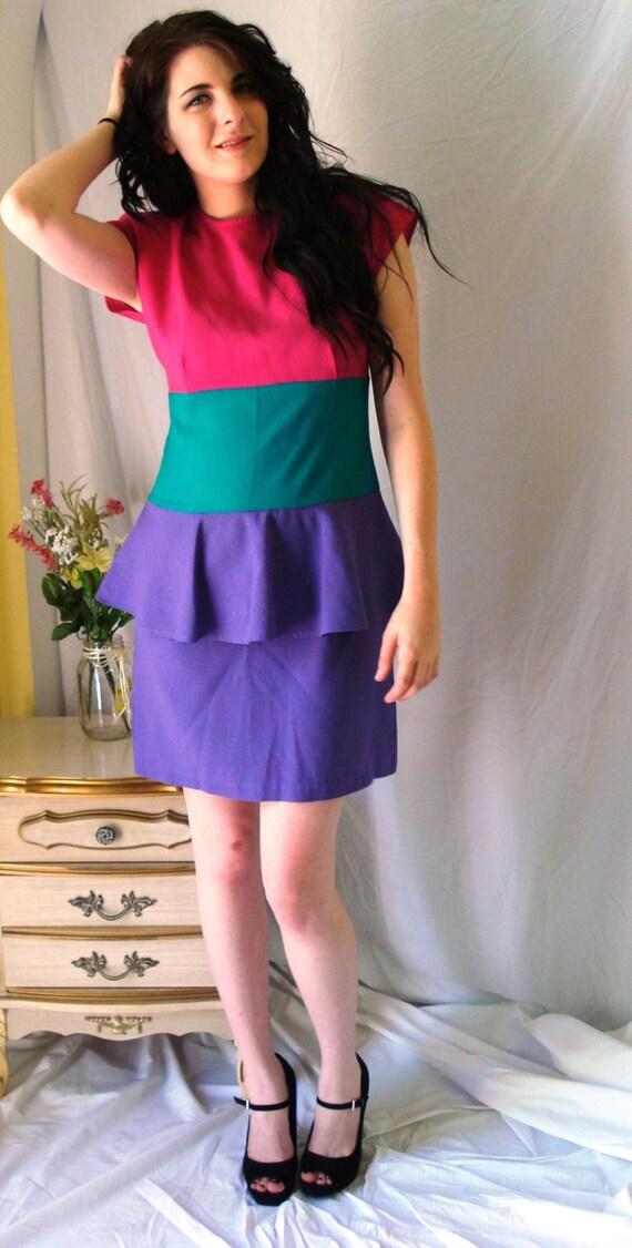 1980 S Avon Fashions Peplum Color Block Party Dress