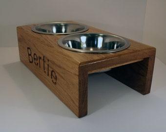 Handmade Personalised raised Dog Feeder - 16cm bowl  - medium dog size - Solid Oak