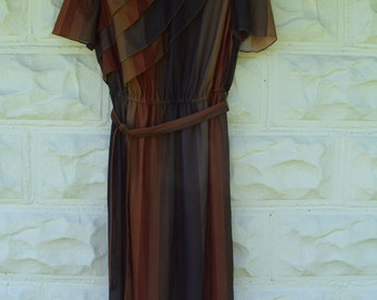 Vintage 1970 1980 Brown and Black Striped Day Dress Light weight Summer Dress Small or Medium