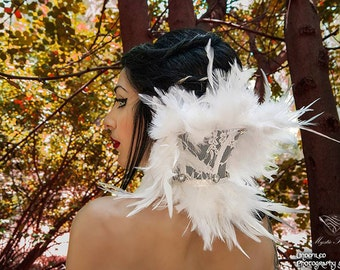 White feathered (length of feathers 8-10cm ) lace neck corset decorated with white Preciosa gems