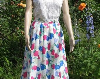 Midi SKIRT summer FLOWER pattern pleated Vintage 36/s