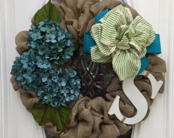 Burlap, Monogrammed, Floral Hydrangea Summer Wreath