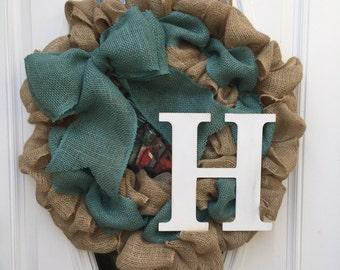 Monogrammed, Personalized, Initial, Burlap Wreath