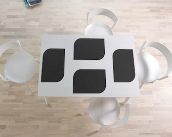Set of 4 place mats in black imitation leather