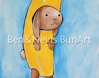 Bunana, bunny art, watercolour print, rabbit illustration, A5 (8.3 x 5.8 inch) baby nursery fun cute, gesso paper, bright colourful, blue