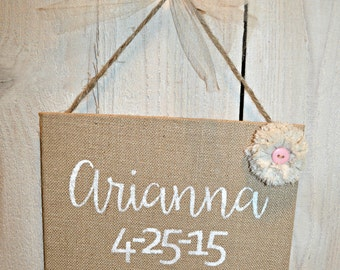 Burlap Baby Sign - Personalized - Baby Nursery