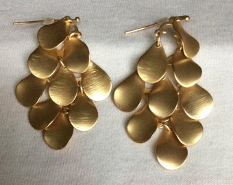 Matte Gold Colored Layered Dangle Earrings
