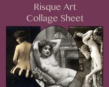 Vintage Risque Art Digital Collage Sheet Download