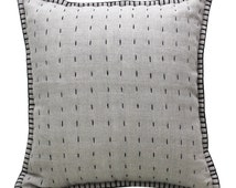 Monochrome Dashes Cushion | Hand Stitched Decorative Pillow