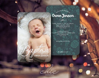 50 Baptism Invitations Boy 50 pk