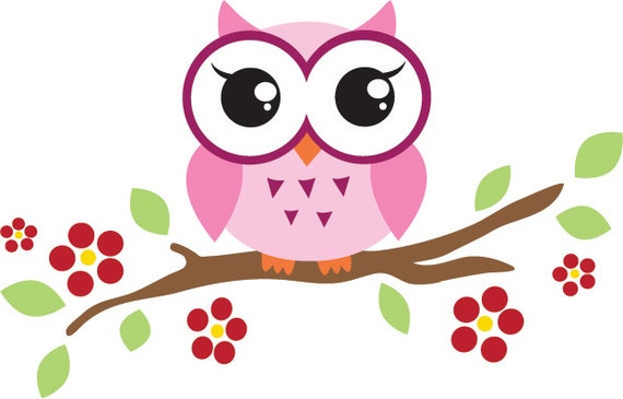 Items Similar To Pink Owl On A Branch Clip Art On Etsy