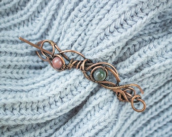 Wire wrapped copper brooch with beads of jasper - wire brooch - copper brooch - brooch for knitwears - gift for her