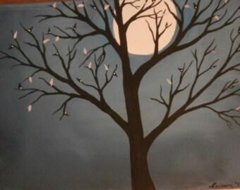 Harvest Moon, Acrylic Painting, Handmade, Moon Painting, Full Moon art, Full Moon Painting, Moon scenery