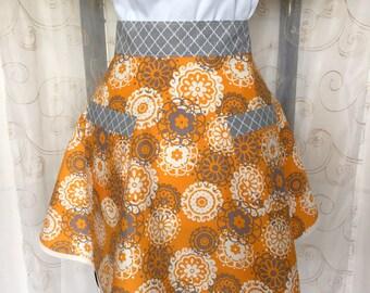 Women's Half Apron, Floral, Orange, Gray, Ivory