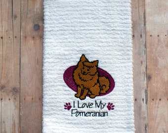I Love My Pomeranian- Kitchen Towel- I Love Pomeranians- I Love Dogs- Dog Tea Towel- I Love My Dog- Gift for Dog Lover- Custom Embroidery