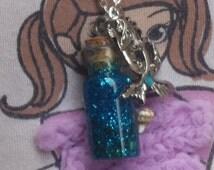 Tiny Mermaid Tears Corked Mini Bottle Necklace, Handmade, glass wish bottle, Tiny Bottle, Corked Bottle and mermaid pendant with seashells