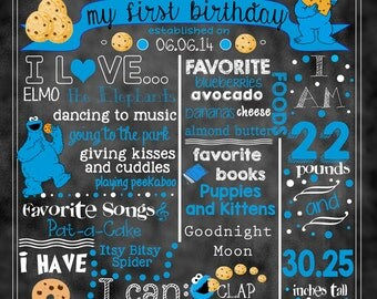 "Cookie Monster Birthday Stat ""Chalkboard""(digital poster)"
