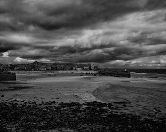 St Ives Prelude to a Storm. An original Black and White fine art photographic Giclée print of St Ives harbour in Cornwall