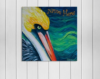Island Art, Vibrant Pelican Painting, Tropical Bird Art, Beach Wall Art, Personalized Island Art, Customizable Wall Art