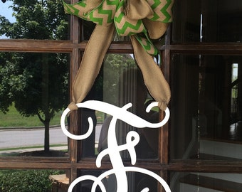 Monogram Door Hanger~Burlap Hanger~Mixed Burlap Chevron Green Bow
