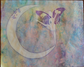 Fairy Dancing on a Crescent Moon Watercolor Painting 8 x 10