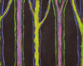 "Neon Acrylic Abstract Tree Painting, One of a Kind, Original Artwork, Wall Decor, 8"" x 12"" Painting on Canvas Sheet"