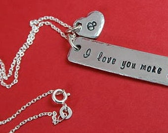 "Personalised ""I Love You More"" Aluminium Bar Necklace 