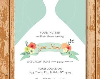 Wedding Dress Bridal Shower Invitation, Customized, Personalized