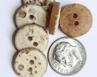 40 Cream and Brown Textured Buttons - 5/8 inch - 2 hole buttons