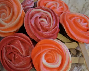 10 Chocolate Meringue Rose Lollipops - Gluten free & non-GMO