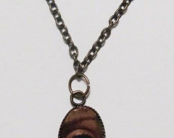 "SALE EyeSeeYou Charm Necklace on 24"" Antique Brass Chain"