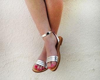 Handmade Leather Sandals in Silver. Variety of colours available