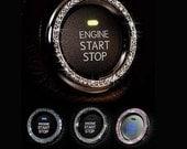 Bling Car Emblem Sticker Decal, Bling Car Accessory, Rhinestone Car Decal For Button & Key Ignition, Knobs, Bling Car Decor, Car Bling Ring