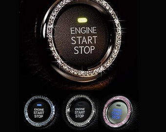 Car Bling Ring Emblem, Bling Car Interior Accessories, Crystal Car Decal For Button & Key Ignition, Knobs, Bling Car Decor, Gift For Women