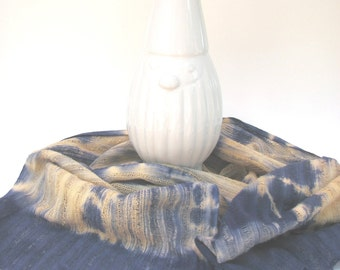 Hand Dyed Scarf, Shibori Scarf, Navy Scarf, Orange Scarf, Light Scarf, Navy and Orange Scarf, Artisanal, Textile, Tie Dye Scarf