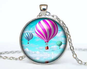 Hot air balloons pendant hot air balloons necklace hot air balloons jewelry