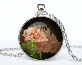 Pink Flowers necklace Flower pendant Flower jewelry