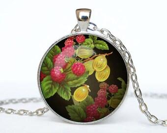 Raspberry necklace Raspberry pendant Raspberry jewelry